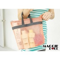 Mesh handy pouch Cosmetic Bag Portable Luggage Storage Organiser Case Pouch[Pink]